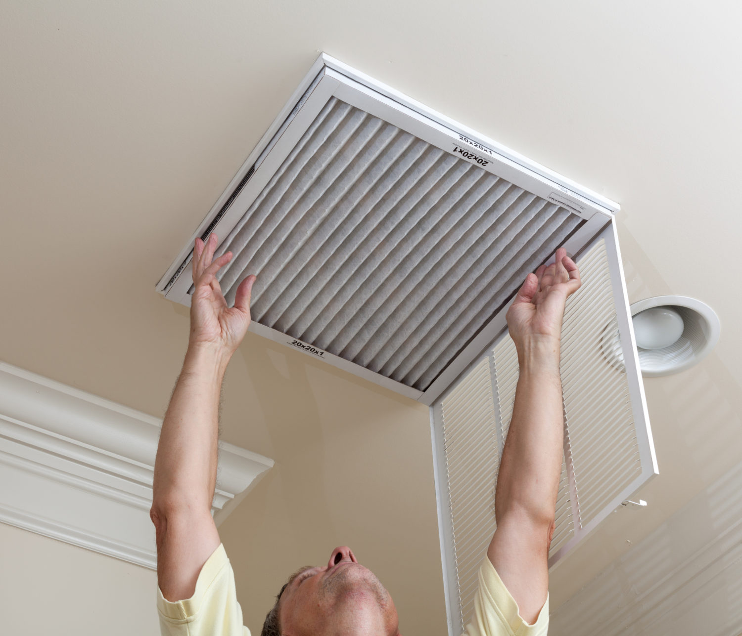 Changing air conditioning filter in ceiling